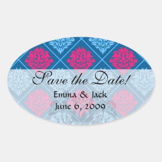 hot pink and blue diamond damask oval sticker