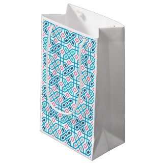 Hot pink and blue geometric pattern small gift bag