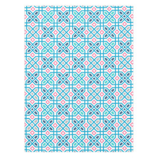 Hot pink and blue geometric pattern tablecloth