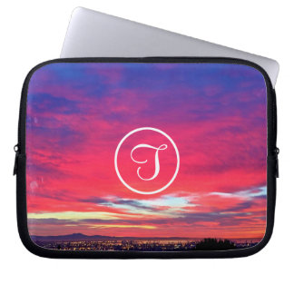 Hot pink and blue sunrise photo custom monogram laptop sleeve