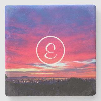 Hot pink and blue sunrise photo custom monogram stone coaster