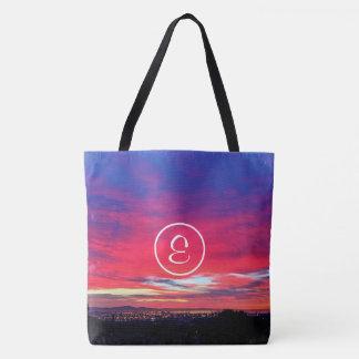 Hot pink and blue sunrise photo custom monogram tote bag