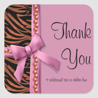 Hot Pink And Bronze Zebra Striped With Pearls Square Sticker