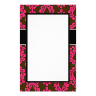 hot pink and brown damask chic design custom stationery