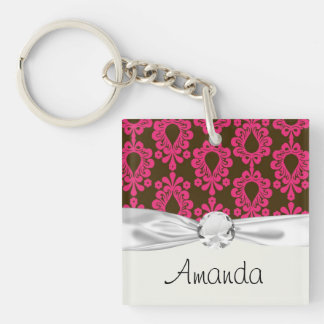 hot pink and brown damask design Double-Sided square acrylic key ring