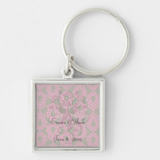 hot pink and brown damask design key chain