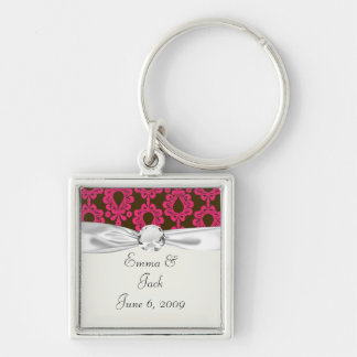 hot pink and brown damask design Silver-Colored square key ring
