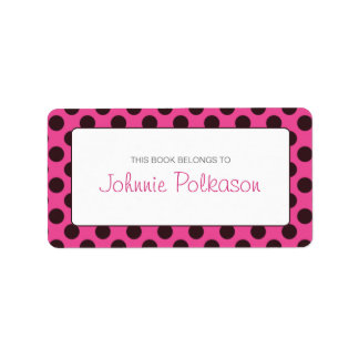 Hot Pink and Brown Polka Dot Bookplate Address Label