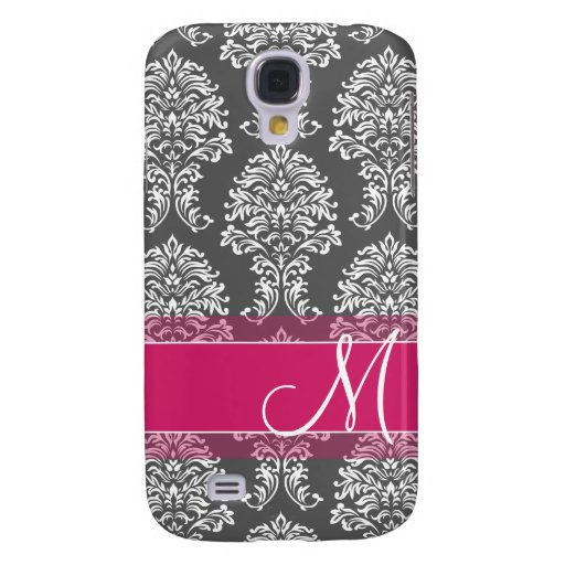 Hot Pink and Charcoal Damask Pattern with Monogram Galaxy S4 Cover