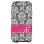 Hot Pink and Charcoal Damask Pattern with Monogram Tough iPhone 6 Case