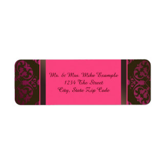 Hot Pink and Chocolate Brown Return Address Label