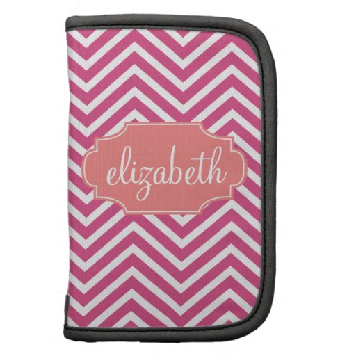 Hot Pink and Coral Chevron Pattern Custom Name Folio Planner