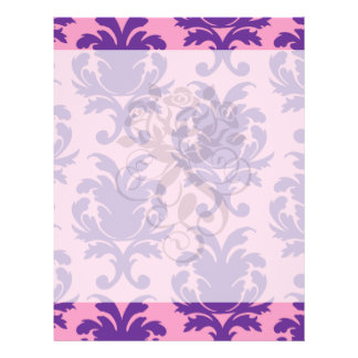 hot pink and deep purple pretty damask pattern custom flyer