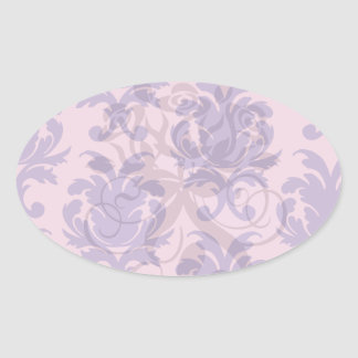 hot pink and deep purple pretty damask pattern oval stickers