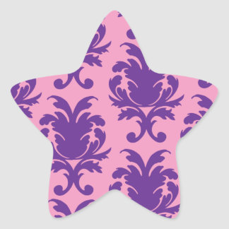 hot pink and deep purple pretty damask pattern star sticker