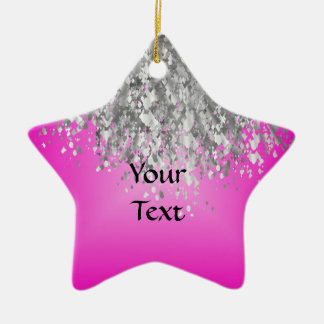 Hot pink and faux glitter christmas ornament