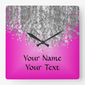 Hot pink and faux glitter clocks