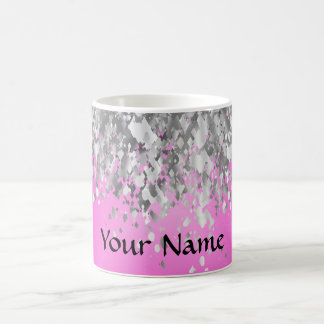 Hot pink and faux glitter coffee mug