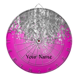 Hot pink and faux glitter dartboard