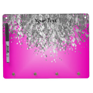 Hot pink and faux glitter dry erase board with key ring holder