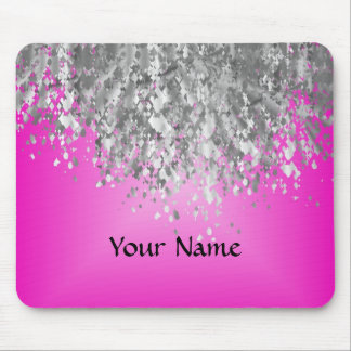 Hot pink and faux glitter mouse mat