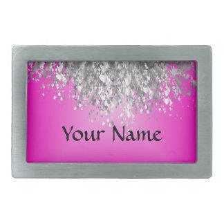 Hot pink and faux glitter rectangular belt buckle