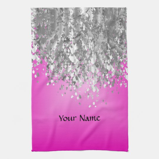 Hot pink and faux glitter tea towel