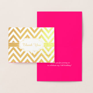 Hot Pink and Gold Chevron Girls Birthday Party Foil Card