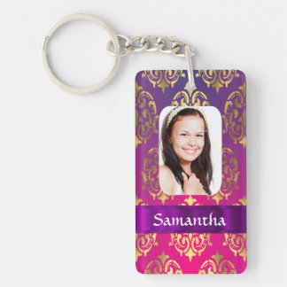 Hot pink and gold damask Double-Sided rectangular acrylic key ring