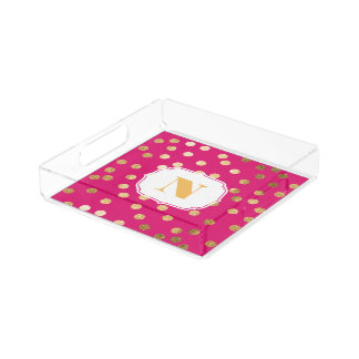 Hot Pink and Gold Glitter City Dots Monogram Tray