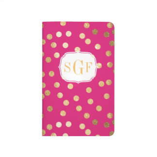 Hot Pink and Gold Glitter Dots Monogram Journals