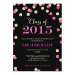 Hot Pink and Gold Glitter Graduation Invitations