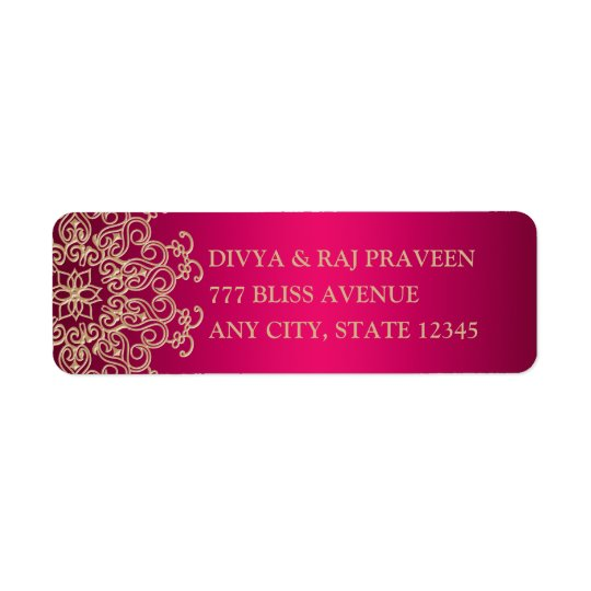 HOT PINK AND GOLD INDIAN INSPIRED ADDRESS LABELS