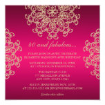 HOT PINK AND GOLD INDIAN INSPIRED BIRTHDAY 13 CM X 13 CM SQUARE INVITATION CARD