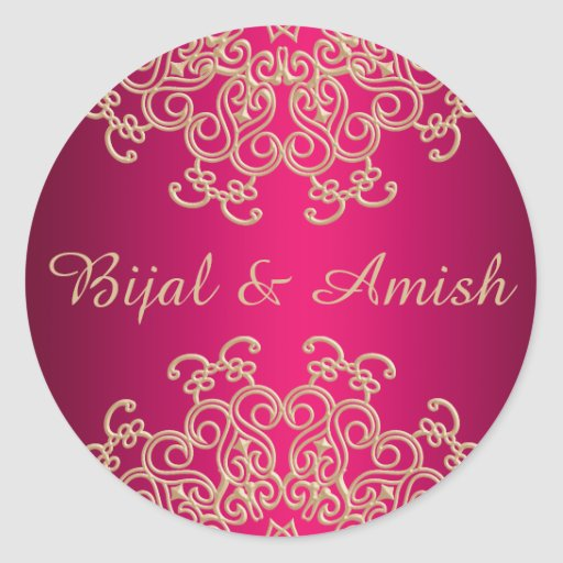 HOT PINK AND GOLD INDIAN INSPIRED THANK YOU LABEL STICKER