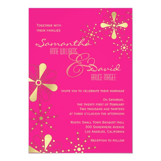 Hot Pink and Gold Indian Inspired Wedding Card