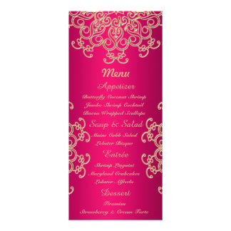 Hot Pink and Gold Indian Style Menu Cards Rack Card Template