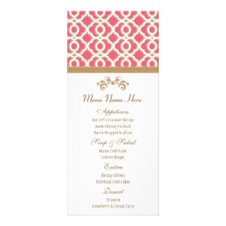 Hot Pink and Gold Moroccan Menu Custom Rack Cards