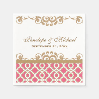 Hot Pink and Gold Moroccan Wedding Disposable Napkins