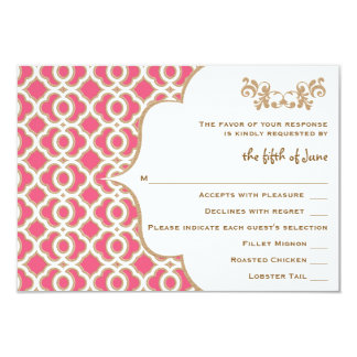 Hot Pink and Gold Moroccan Wedding Response Cards 9 Cm X 13 Cm Invitation Card