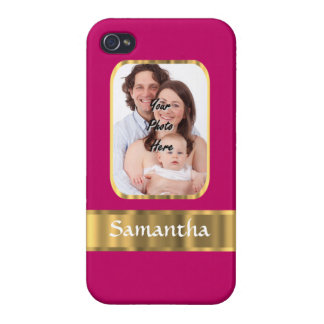 Hot pink and gold personalized case for iPhone 4