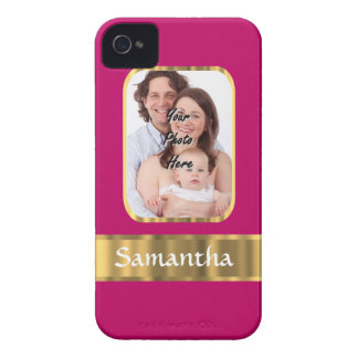 Hot pink and gold personalized iPhone 4 Case-Mate case