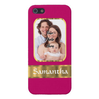 Hot pink and gold personalized iPhone 5 cover