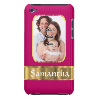 Hot pink and gold personalized iPod Case-Mate cases