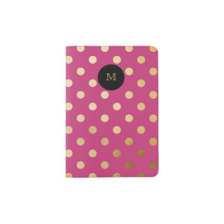 Hot Pink and Gold Polka Dot Passport Holder