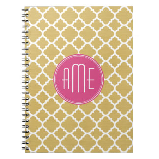 Hot Pink and Gold Quatrefoil Pattern Monogram Notebook