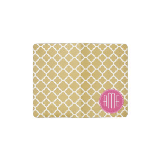 Hot Pink and Gold Quatrefoil Pattern Monogram Pocket Moleskine Notebook