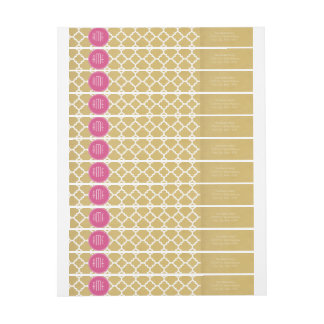 Hot Pink and Gold Quatrefoil Pattern Monogram Wrap Around Label