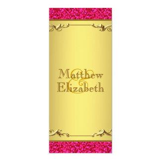 Hot Pink and Gold Wedding Menu Program 10 Cm X 24 Cm Invitation Card