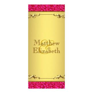 Hot Pink and Gold Wedding Menu Program Custom Invite